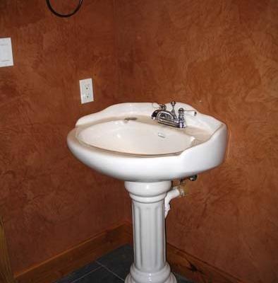venetian plaster italian plasters Venetian Plaster Powder Room Seattle interior design pedastool sinks wall art Samammish