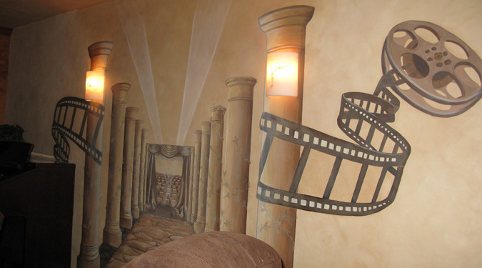 Sepia Murals Film Reel Dimensional Mural in Home Theater Mercer Island Seattle film reels designs columns muralist wall art
