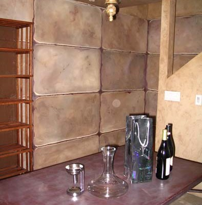 Faux Stones Painted in Wine Cellar Mercer Island interior design ideas t Seattle bellevue tacoma wine racks cellar ideas