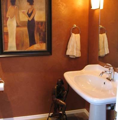 venetian plaster italian plasters Sienna Polished Venetian Plaster Powder Room Seattle interior design pedastool sink Bellevue Gig Harbor Houzz