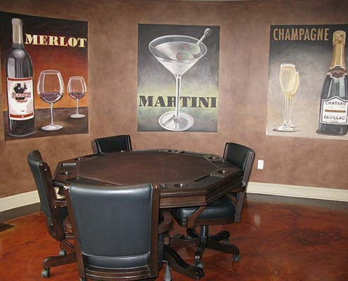 wine cellar murals Vintage Wine and Spirit Mural Bar and Game Room Bellevue snohomish vintage posters Seatttle poker table