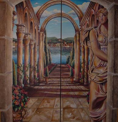 Italian Garden Walkway Waterfront Mural Bellevue decorator columns statue water muralist Seattle Issaquah