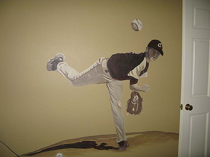 children's rooms Life size Baseball Boys Room Mural Seattle kids room sports Olympia design ideas