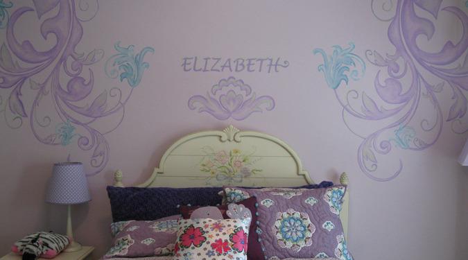 children's rooms Purple Scroll Design Girls Room Bellevue flowers pillows bed spread kids baby Samammish