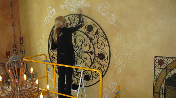 Raised Plaster Scroll Designs in Entry Seattle houzz iron medallion desiigmer details mural artist Bellevue Tacoma ideas decorating damask scroll wall designs