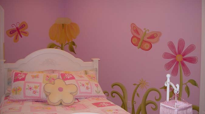 children's rooms Whimsical Flower Design Girls Room Mural Seattle bedspread butterflies pink purple kids interior design Puyallup