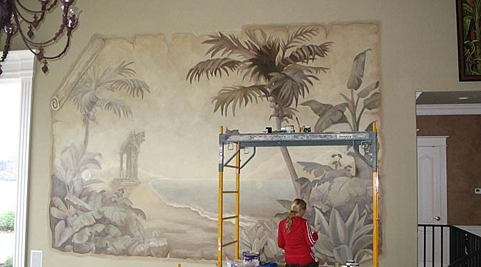 Sepia Murals Palm Trees and Beach Tropical Parchment Mural Bellevue Kirkland iron chandelier