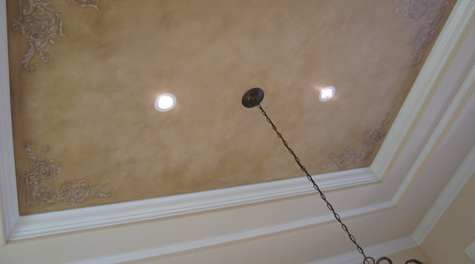 Raised Plaster Scroll Designs in Dining Room Mercer Island interior decorator Bellevue Tacoma trey inset ceiling ideas