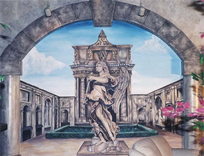 Seattle Mural Angel Statue Trompe Loeil Roman Casino Interior Designer Statues Muralist Restaurant