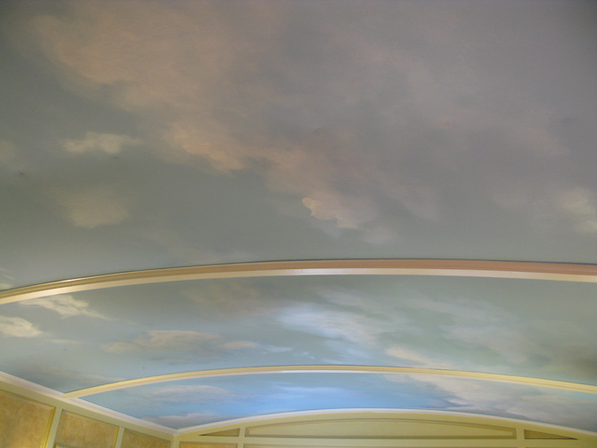 Cloud ceiling murals and painted phrases paradise for Ceiling cloud mural