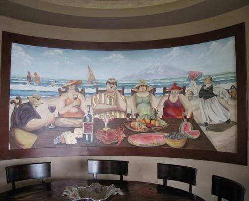wine cellar murals The Island Feast Mural in Dining Room Vashon Island Kirkland woodinville muralist mural artist dining scene