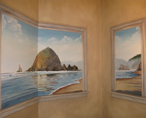murals trompe l'oeil doorways and views Northwest Canon Beach Mural Powder Room Redmond muralist wall ideas Seattle Bellevue