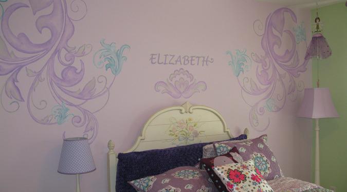 children's rooms Purple Scroll Design Girls Room Bellevue bed set lamps kids ideas decorators Redmond