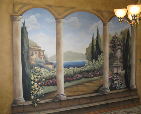 Formal Garden Mural in Living Room Bellevue columns cypress trees flowers landscape muralist Seattle Medina murals trompe l'oeil doorways and views