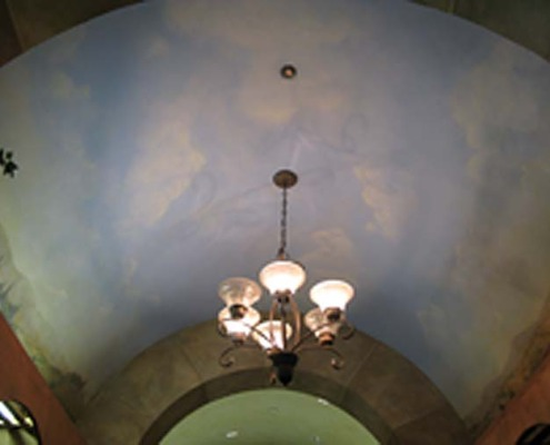 cloud ceiling murals in Wine Cellar Mercer Island Seattle Wine Cellar Ideas mural artist chandelier