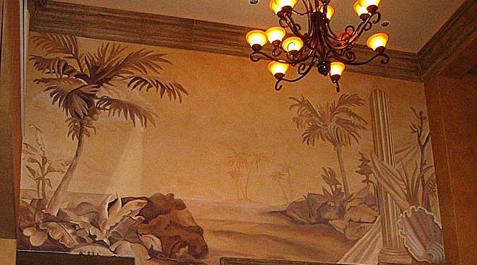 Sepia Murals Tommy Bahama Tropical Mural Living Room Kirkland palm trees water scene mural painter artist Seattle Redmond