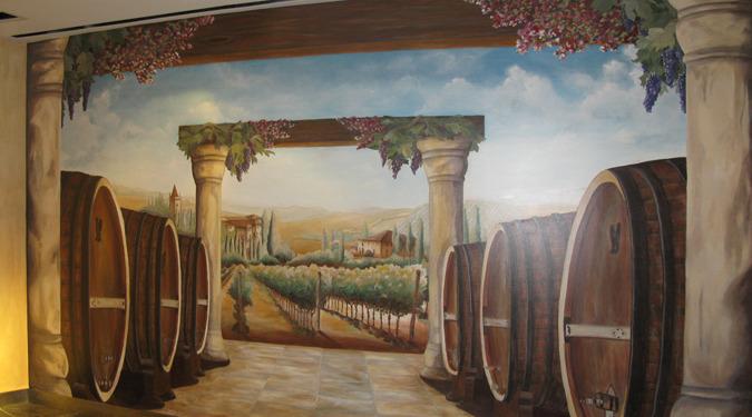 Wine Barrel and Vineyard Mural at the Venetian Hotel Las Vegas interior designer ideas mural artist restaurant murals Redmond murals trompe l'oeil doorways and views