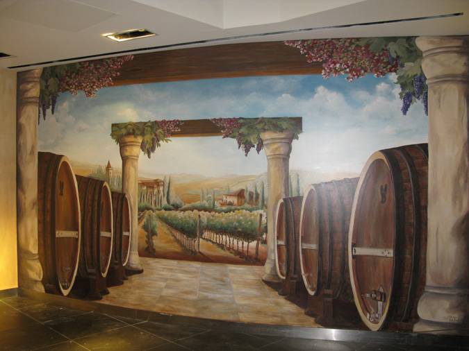 Interior Designer Ideas Mural Artist Wine Barrel And Vineyard At The Venetian Hotel Las Vegas