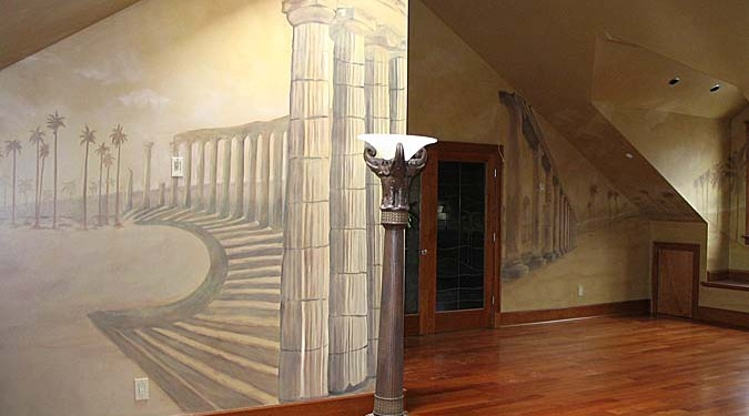 Sepia Murals Architectural Palm Tree Mural in Bonus Room Seattle Redmond Column mural mural artist brazilian cherry floors Issaquah
