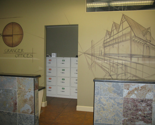 Sepia Murals Architectural Mural Granger Offices Seattle wall art house models interior decorating Bellevue