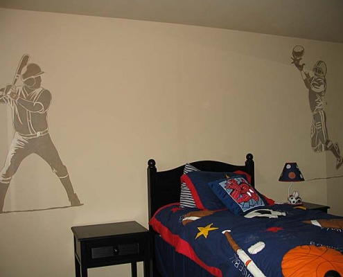 children's rooms Baseball and Football Mural Boys Room Seattle kids ideas sports designs Woodinville