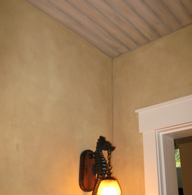 Faux Finish with Faux Wood Ceiling Painted on Mercer Island Seattle bellevue iron sconce wall covering
