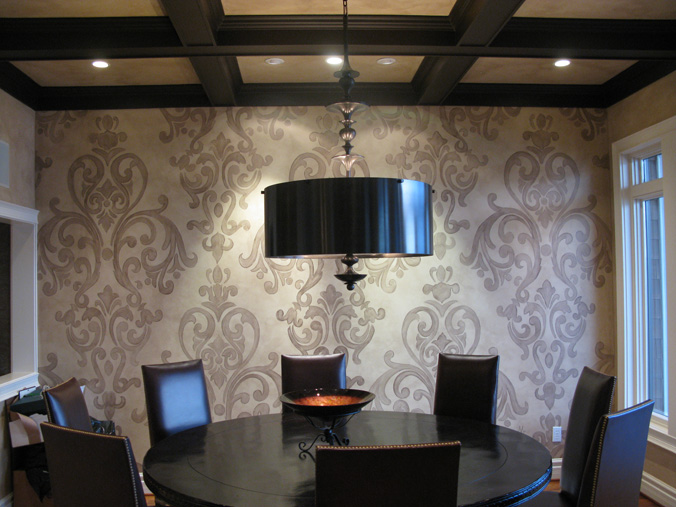 Acanthus Scroll Damask Design in Dining Room Redmond i Bellevue Seattle wall art damask scroll