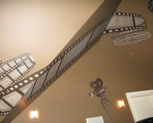 Sepia Murals Film Reel Mural in Home Theater Redmond Samammish movie room ideas interior design Bellevue