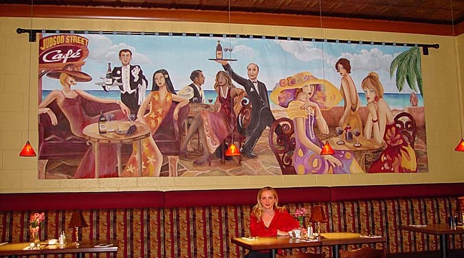 wine cellar murals Wine Cafe Scene Mural and Judson St Cafe Gig Harbor ladies and gentlemen cafe art dining scene Seattle Woodinville wine