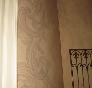 Tea Stained Acanthus Scroll Design Hallway Redmond interior design houzz Tacoma ideas decorating damask scroll wall designs Issaquah
