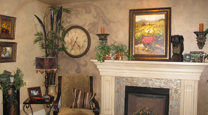 Tea Stained Acanthus Scroll Design Living Room Redmond mantle clock antique chair decorating ideas houzz Kirkland