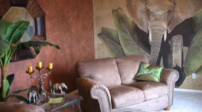 Sepia Murals Elephant Mural in Home Theater Kirkland suede sofa palms interior design ideas mural artist Tacoma Samammish