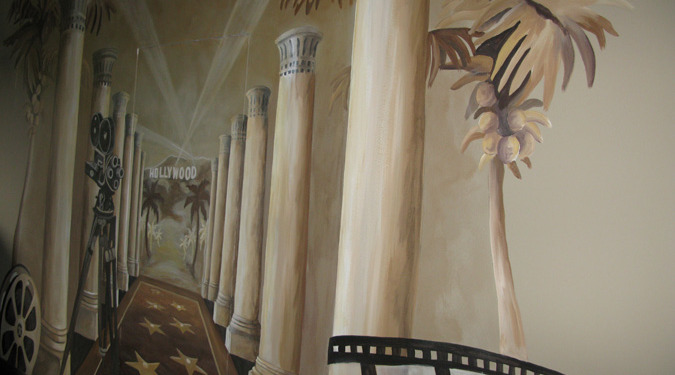 Sepia Murals Hollywood Mural in Home Theater Redmond film reel palm trees hollywood stars interior design ideas Kirkland