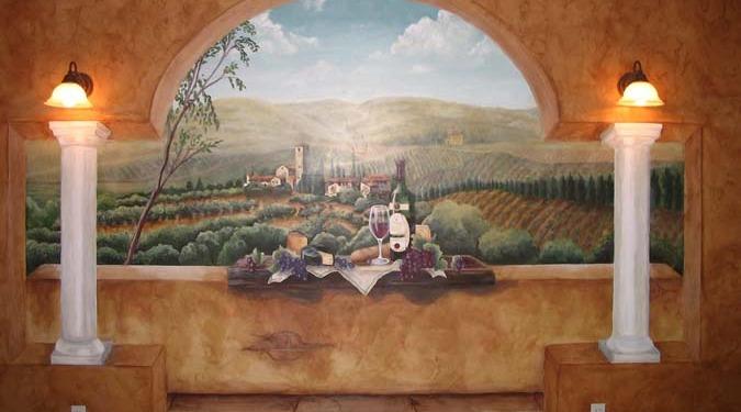 wine cellar murals Vineyard Wine Mural Seattle