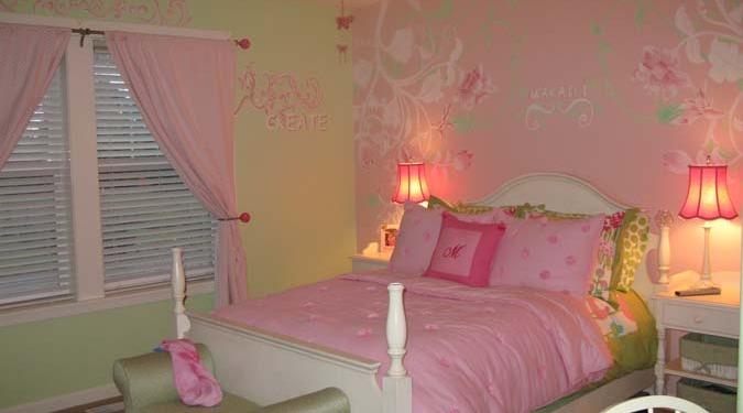 children's rooms Pink Scroll Design Girls Room Mural Bellevue greem flowers interior design kids baby Kirkland
