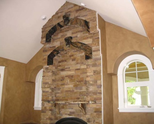 Architectural Faux Finish Great Room Seattle cluttered stone fireplace decorative paint bellevue