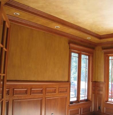 Architectural Faux Finish Office Seattle chair rail inset ceiling old world