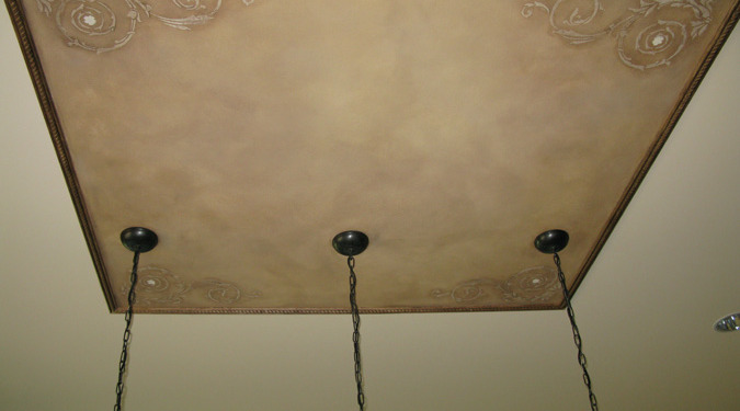 Raised Plaster Scroll Designs in Kitchen Mercer Island ceiling designs decorative details interior design faux finish Bellevue