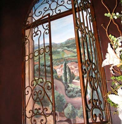 French Vineyard Mural Powder Room Redmond Interior designer mural painter landscape Tuscan iron shutters Seattle