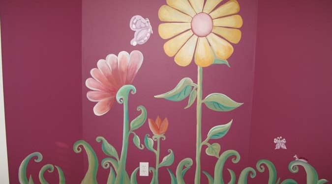 children's rooms Whimsical Flower Design Girls Room Mural Seattle butterfly flowers burgundy kids interior decorators
