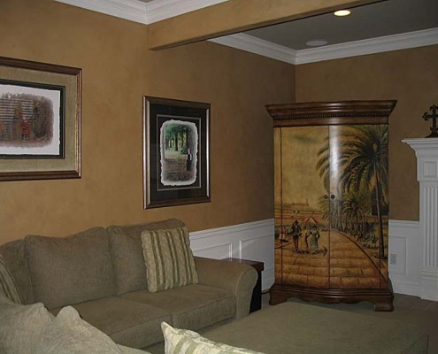 Architectural Faux Finish Family Room Seattle rustic painted armoir decorative paint kirkland sofa