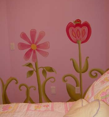 children's rooms Whimsical Flower Design Girls Room Mural Seattle Decorating ideas kids pink purple bed Tacoma