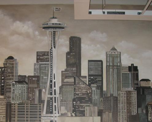 Sepia Murals Seattle Skyline Mural in Commerical Office Seattle space needle skyscrapers mural painter muralist Kirkland