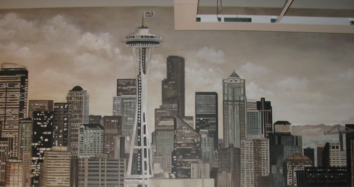 Sepia Murals Seattle Skyline Mural in Commerical Office Seattle space needle skyscrapers mural painter muralist Kirkland