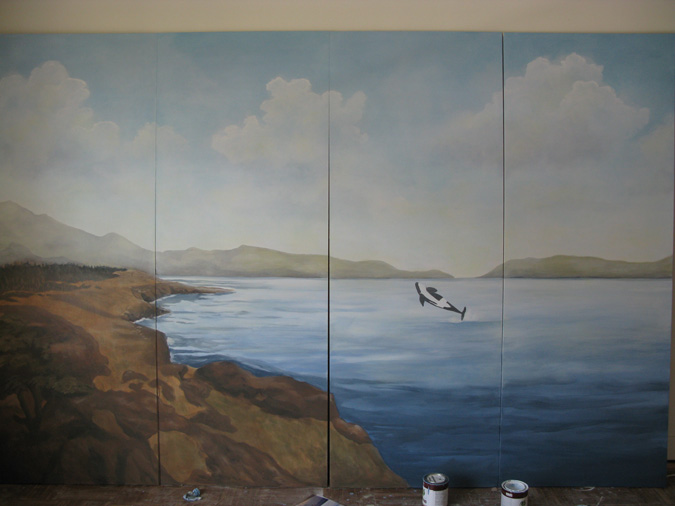 murals trompe l'oeil doorways and viewsView From the San Juan Islands Mural Seattle muralist landscape water orca whales Redmond