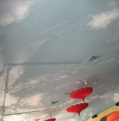cloud ceiling murals Sky Ceiling In Olive You Restaurant Kirkland Tacoma hospitality design ceiling art Bellevue