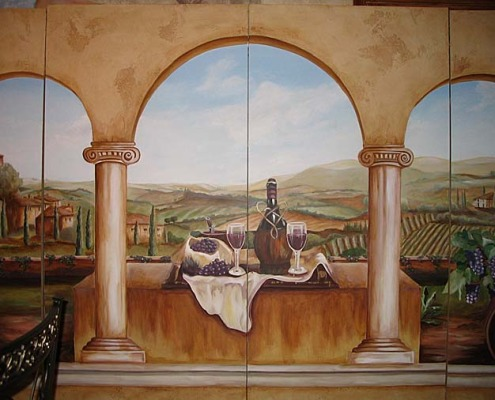 Wine Still-life and Tuscan Vineyard Mural Kirkland muralist restaurant vineyard murals Seattle murals trompe l'oeil doorways and views