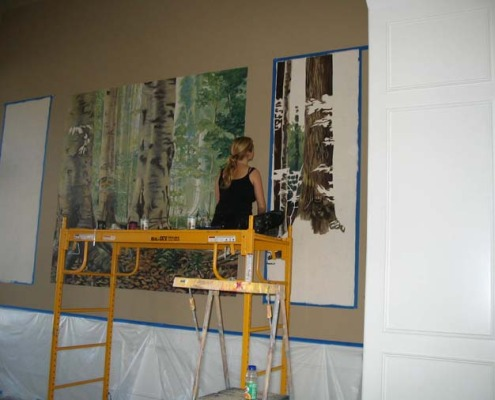 murals trompe l'oeil doorways and views Northwest Forest Mural in Progress Formal Living Room Bellevue tree Interior designers houzz muralist artist Seattle Kirkland