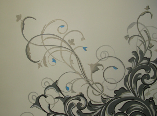 Contemporary Scroll Design in Clocktower Media Kirkland Bellevue interior designer wall designs