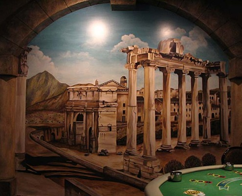 Seattle Mural Rome Forum Trompe L'ceil Mural Roman Casino Seattle decorator wall ideas muralist restaurant murals Samammish murals trompe l'oeil doorways and views